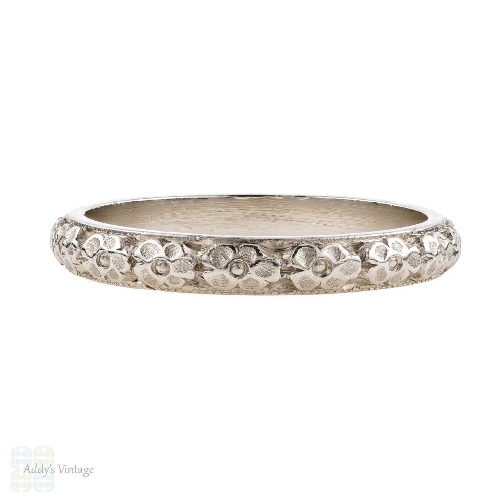 Antique Platinum Engraved Wedding Ring, Orange Blossom Flower Pattern Ladies Band. Size I / 4.5.