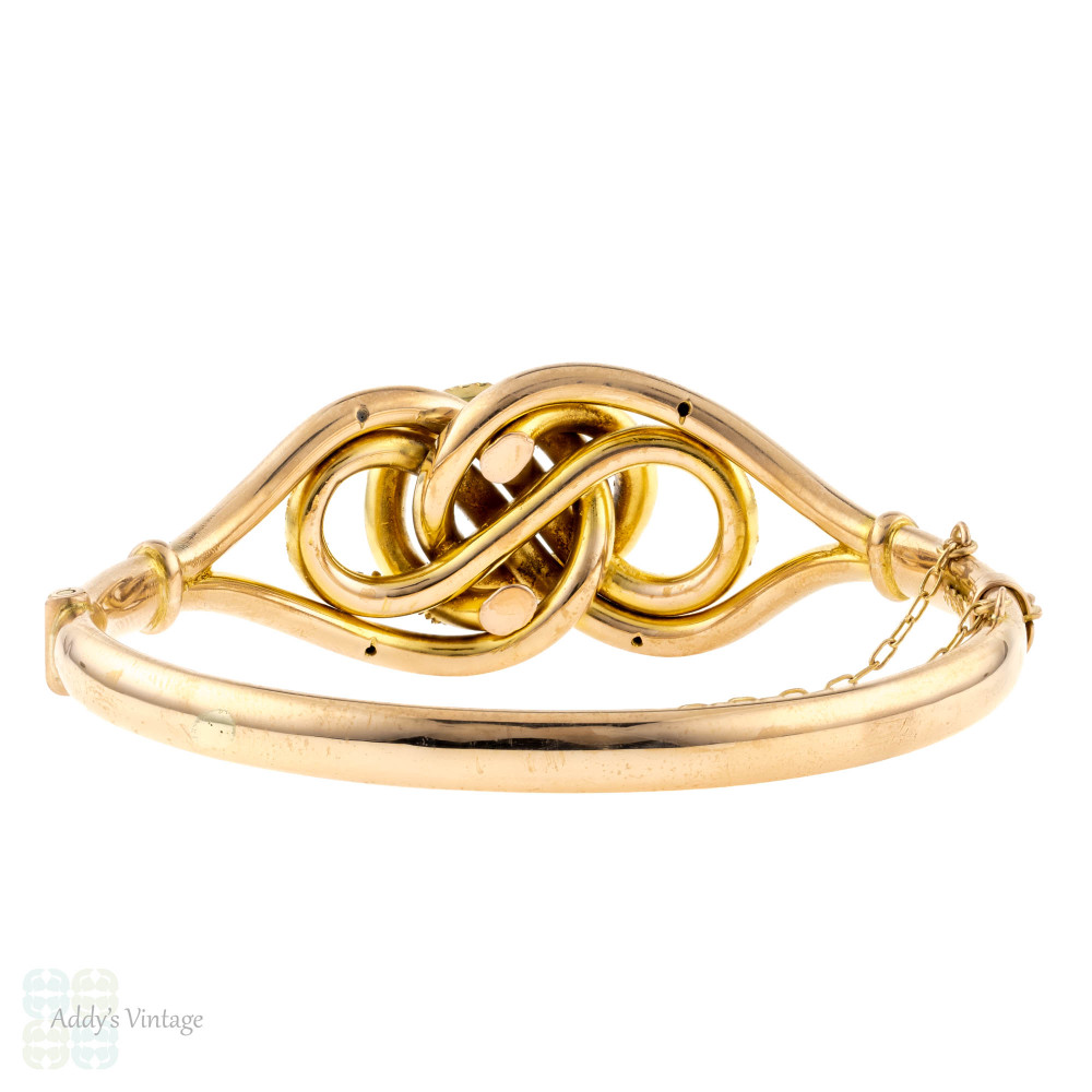 Victorian Lover's Knot Bangle, 9ct 9k Antique 1880s Intertwined Knotted Design Bracelet.