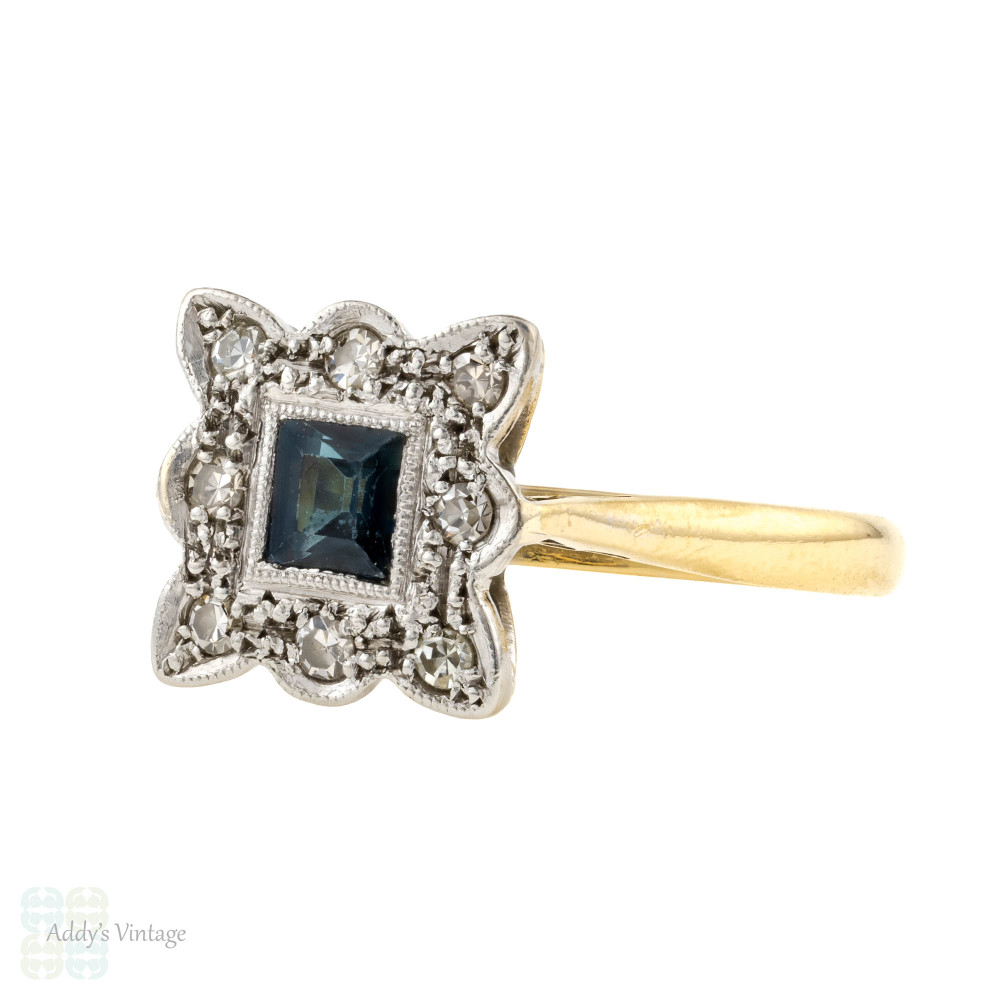 Vintage 1930s Sapphire & Diamond Engagement Ring, Square Diamond Halo. 18ct & Platinum.