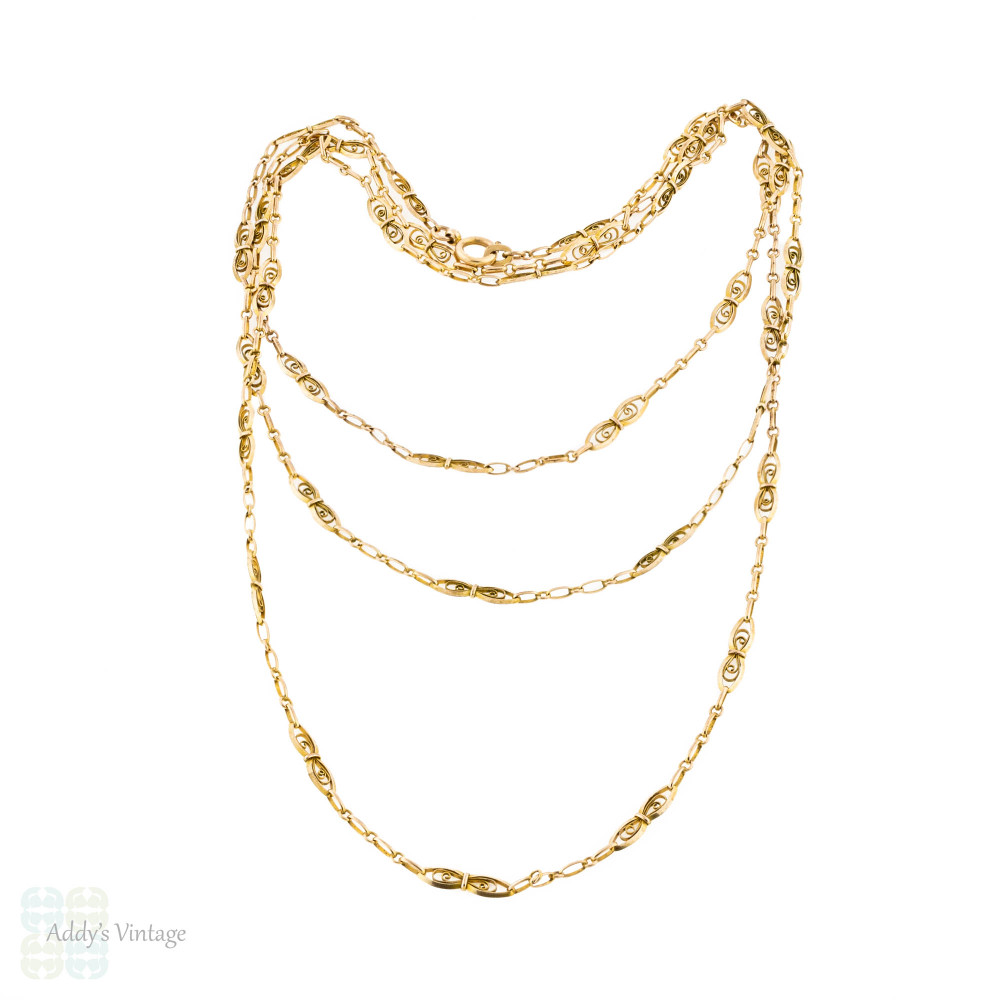 RESERVED Gold Filled Antique Long Guard Chain, Art Nouveau Oval Filigree Link Necklace. 152 cm / 60 inches.