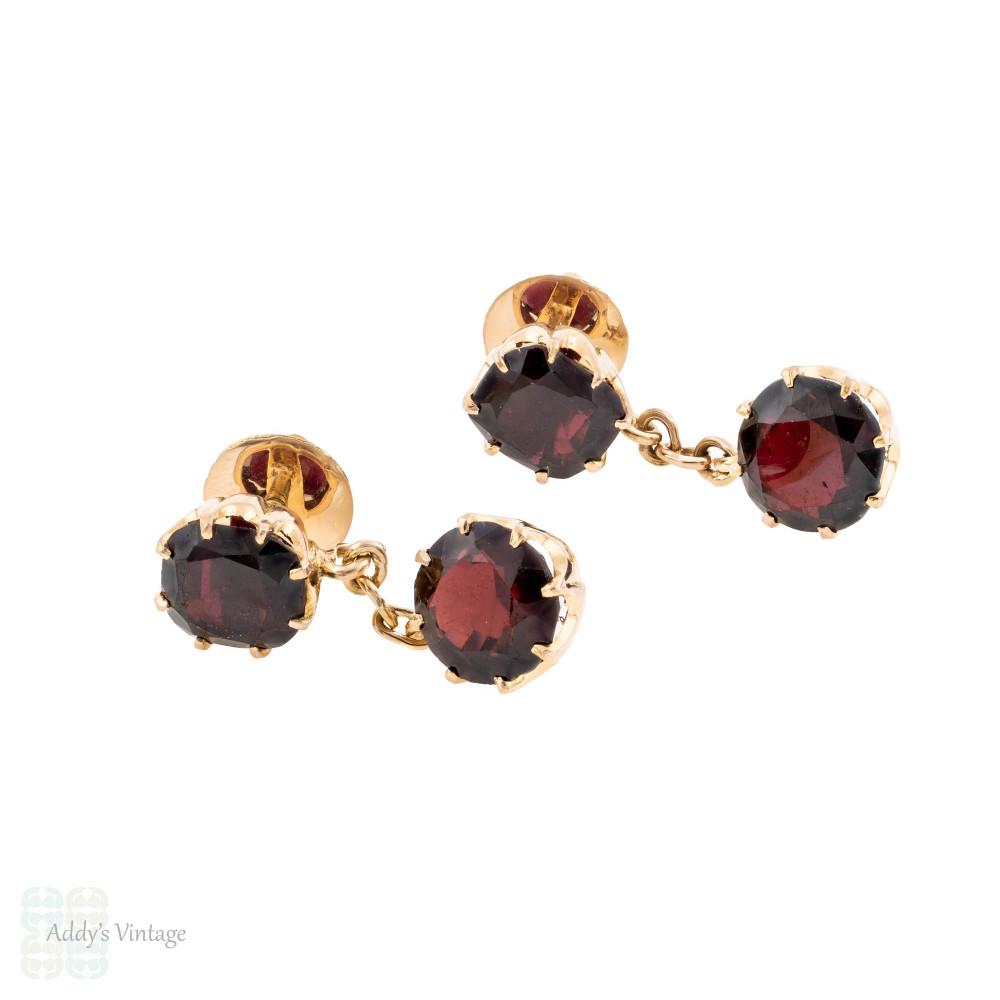 Garnet Drop Dangle Earrings, Vintage 14k Rose Gold Screw Back Pierced Earrings.