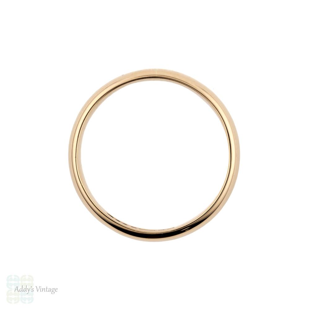 Classic 9ct Rose Gold Wedding Ring, Vintage Mid Century Ladies 9k Band. Size M / 6.25.