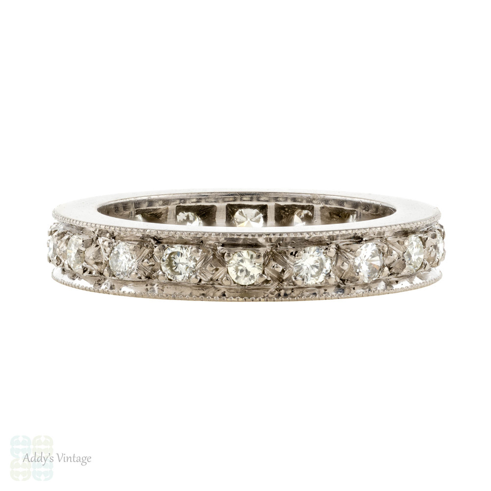 Diamond Eternity Ring, Vintage 0.50 ctw Full Hoop Wedding Band. 18ct 18k White Gold, Size K / 5.25.
