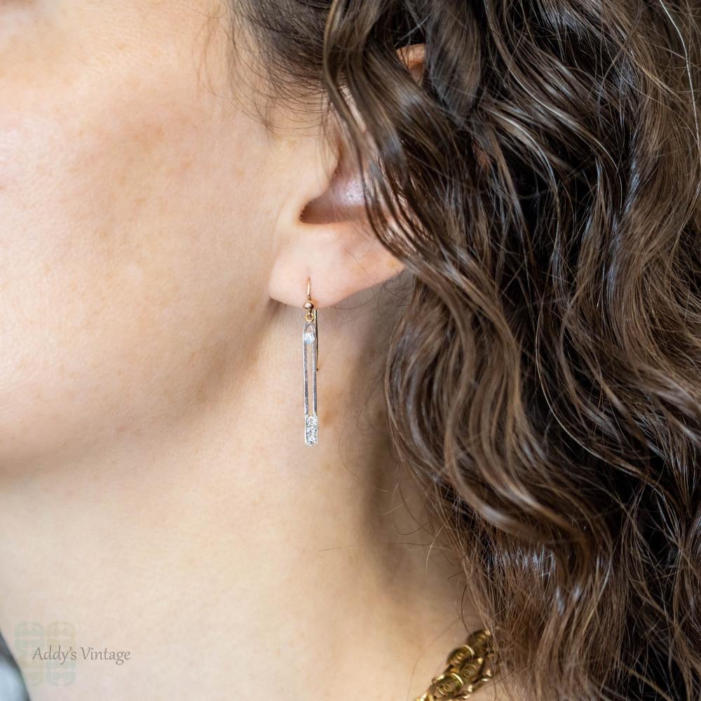 Diamond Drop Earrings, Vintage Line Dangles in 15ct Gold & Platinum. Victorian Conversion.