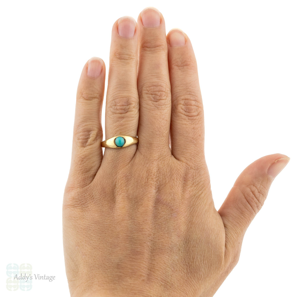 Turquoise Single Stone Ring, Antique Gypsy Set Victorian 18ct 18k Yellow Gold Band.