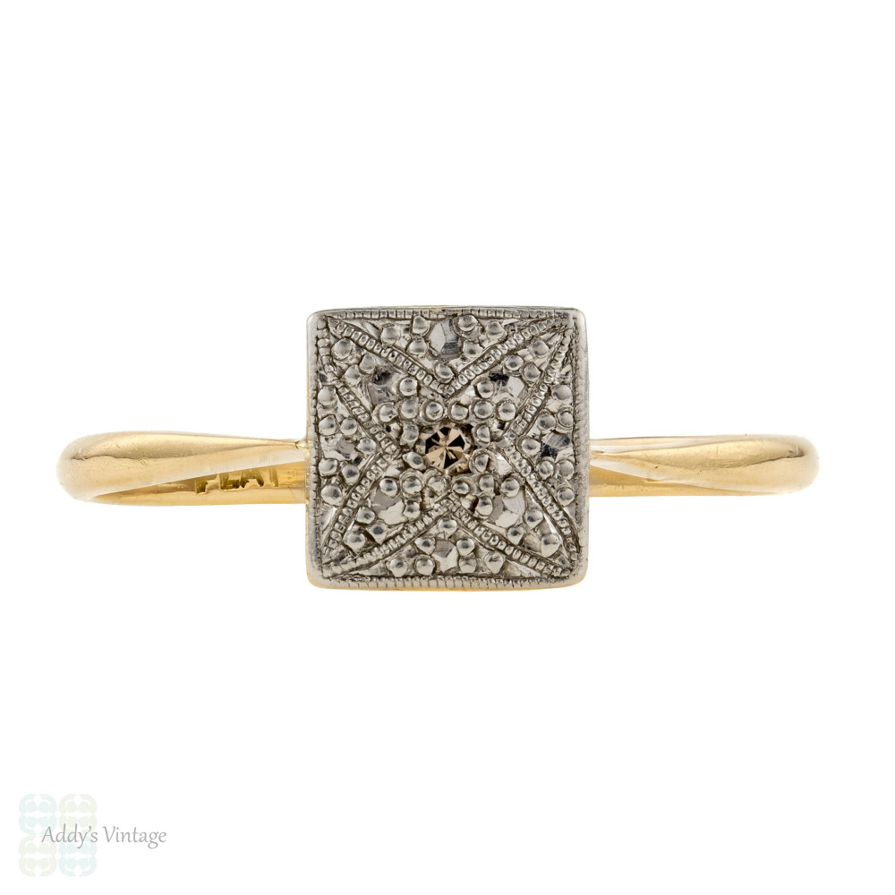 Art Deco Diamond Engagement Ring. 1920s Square Single Stone Ring, 18ct & Platinum.
