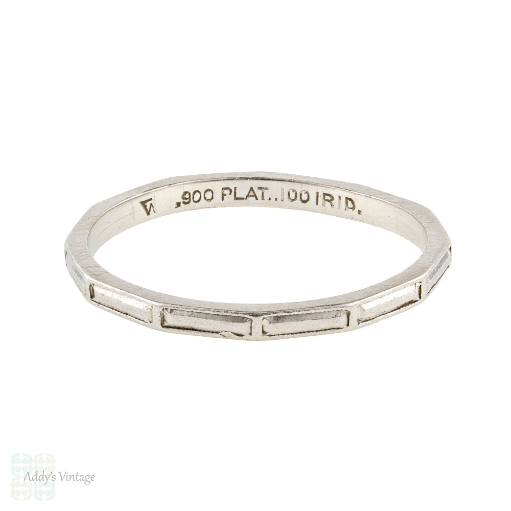 Platinum Baguette Engraved Ring, Ladies Vintage 1930s Slender Wedding Band. Size J.5 / 5.25.