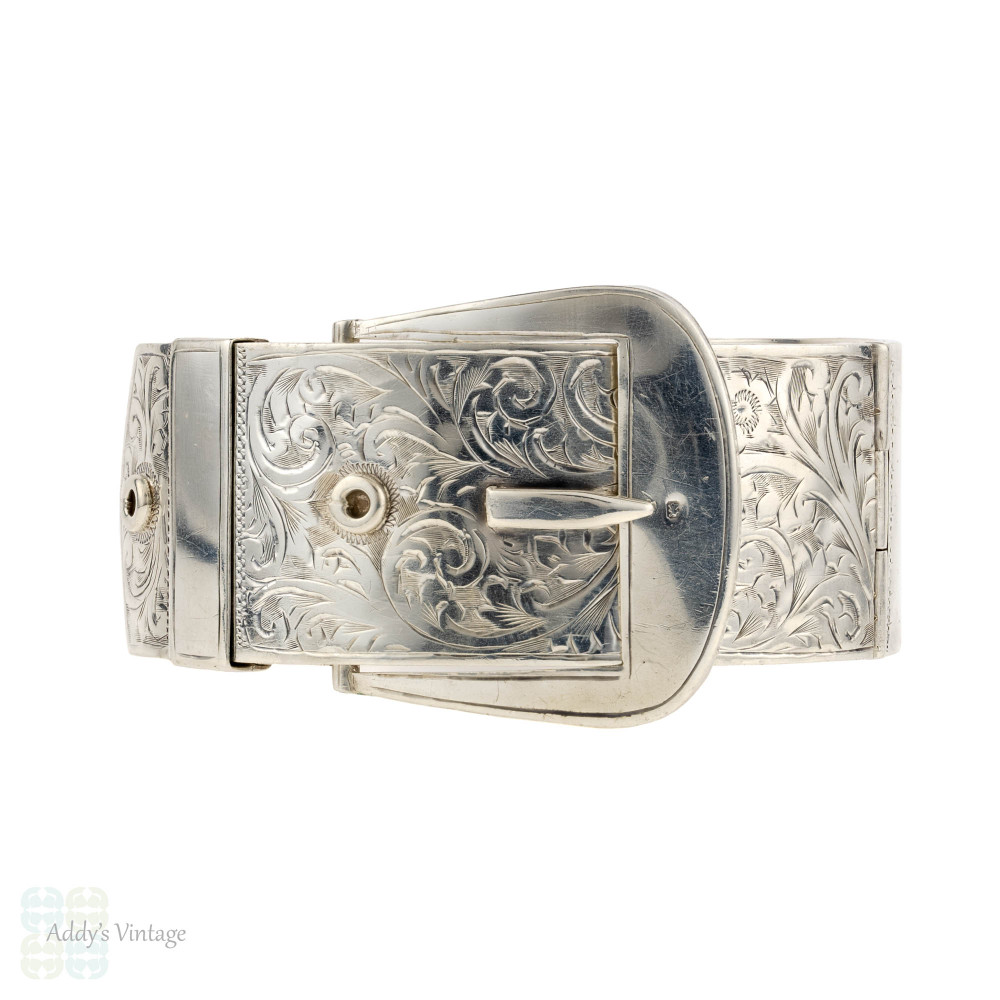 Buckle Design Vintage Sterling Silver Bangle Bracelet, Scroll Engraved Pattern. Chester 1930s Hallmarks.