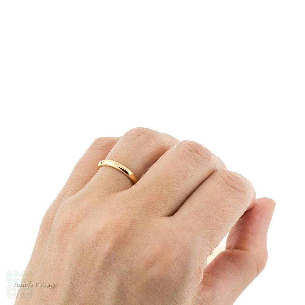 Victorian 22ct Gold Wedding Ring, Narrow 1880s Ladies 22k Band. Size L / 5.75.