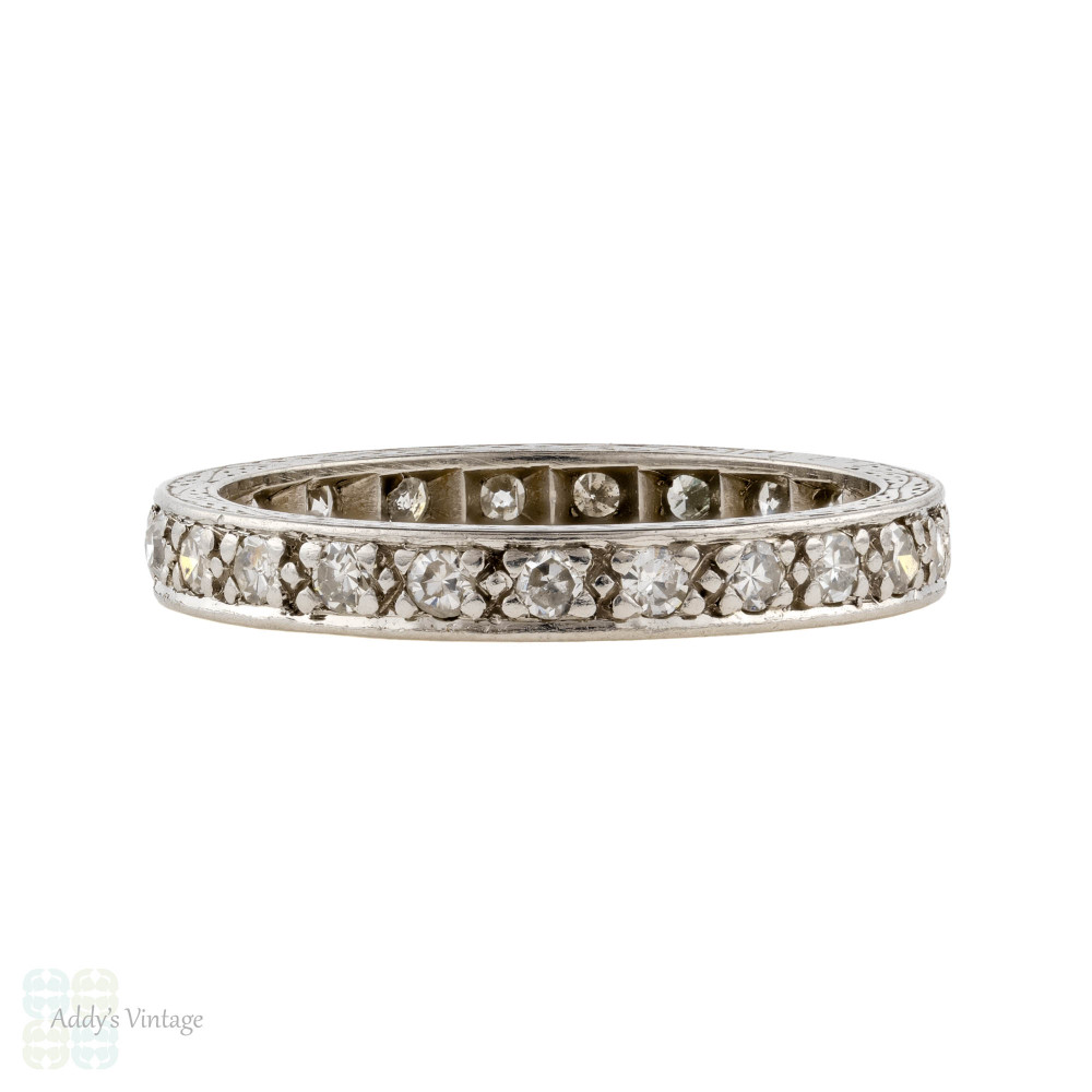 Vintage Diamond Eternity Ring, Art Deco Full Hoop Wedding Band. 0.35ctw, Size K / 5.25.