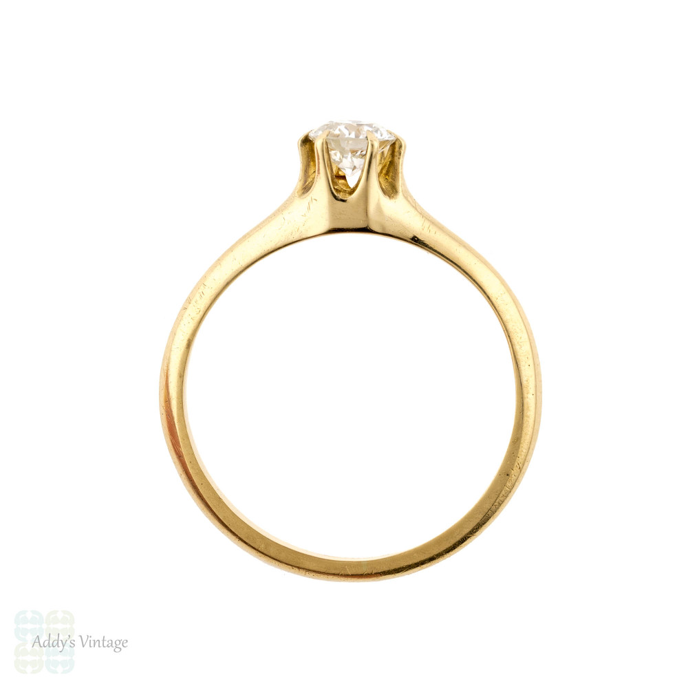 Vintage Diamond Solitaire Engagement Ring, 1920s 0.29 ctw 18k Yellow Gold Single Stone.