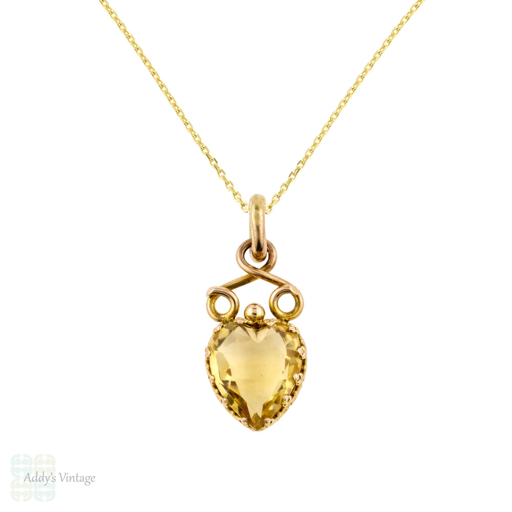 Antique Citrine Heart 9k Pendant, 9ct Yellow Gold Faceted Love Heart Charm.