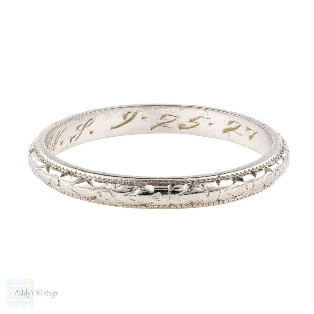 Platinum 1920s Engraved Wedding Band, Orange Blossom Flower Engraving Ring. Size P.5 / 8.
