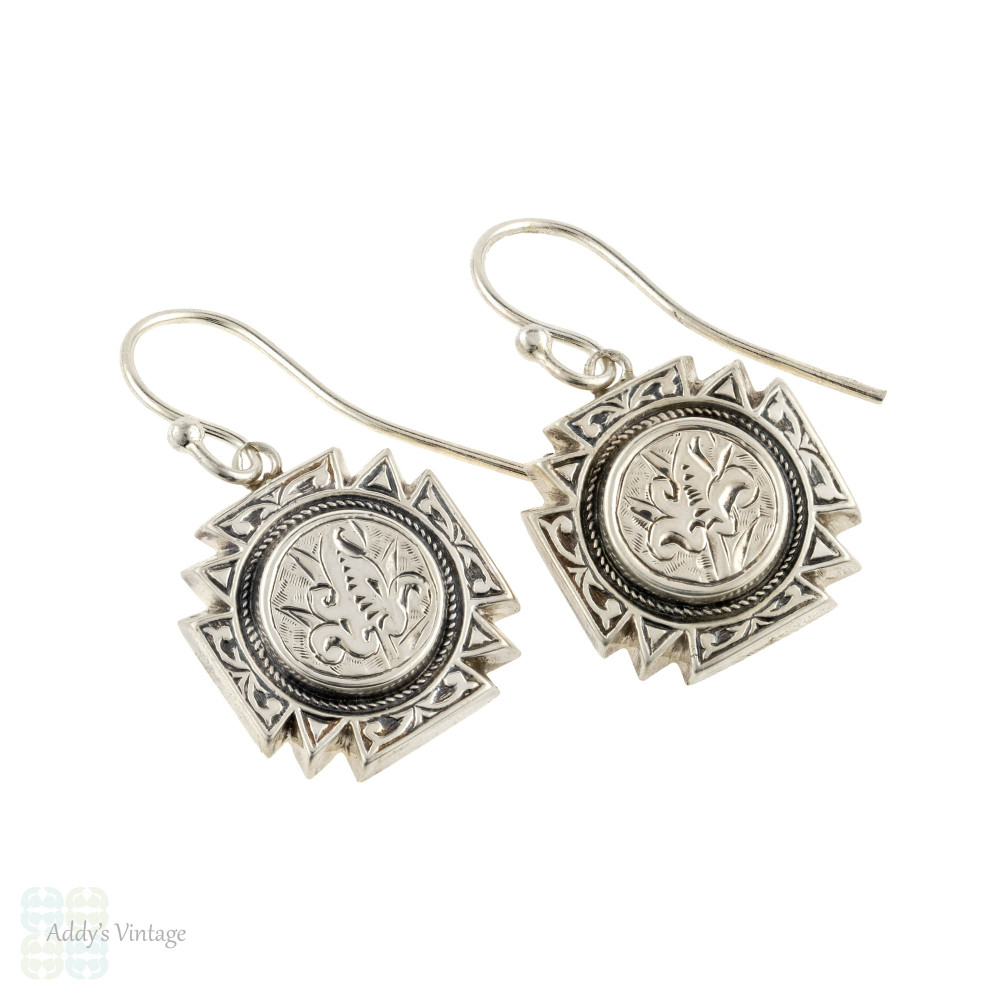 Victorian Sterling Silver Dangle Earrings, Engraved Maltesse Cross Shape Leaf Drops.