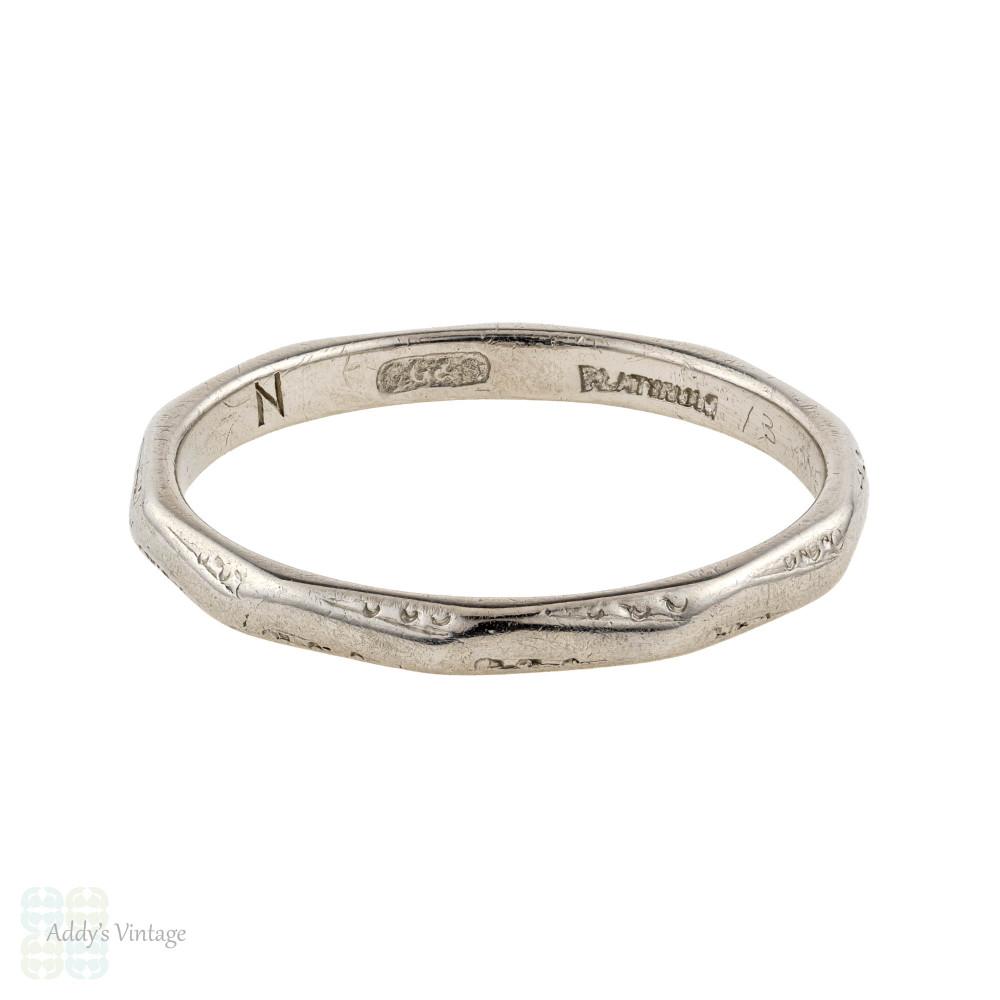Vintage Platinum Wedding Ring, 1940s Faceted Ladies Narrow Band. Size N / 6.75.