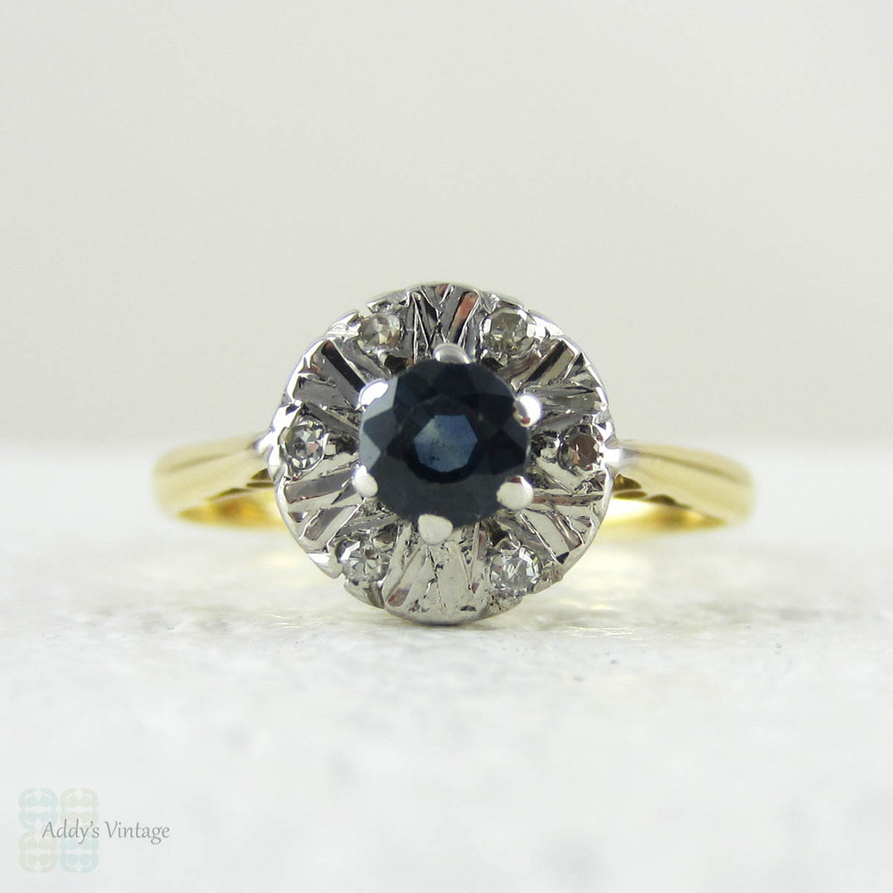 Vintage Sapphire Ring With Diamond Halo Cluster Style