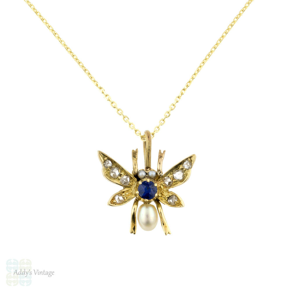 Antique Fly Pendant, 15ct 15k Rose Cut Diamond, Sapphire & Cultured Pearl Bug Necklace, 9ct Chain.