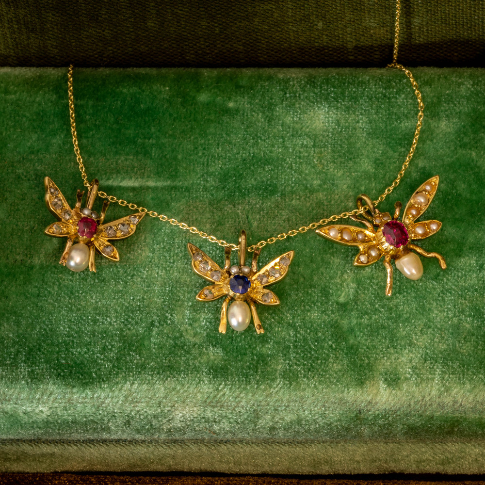 Antique Fly Pendant, 15ct 15k Rose Cut Diamond, Ruby & Cultured Pearl Bug Necklace, 9ct Chain.