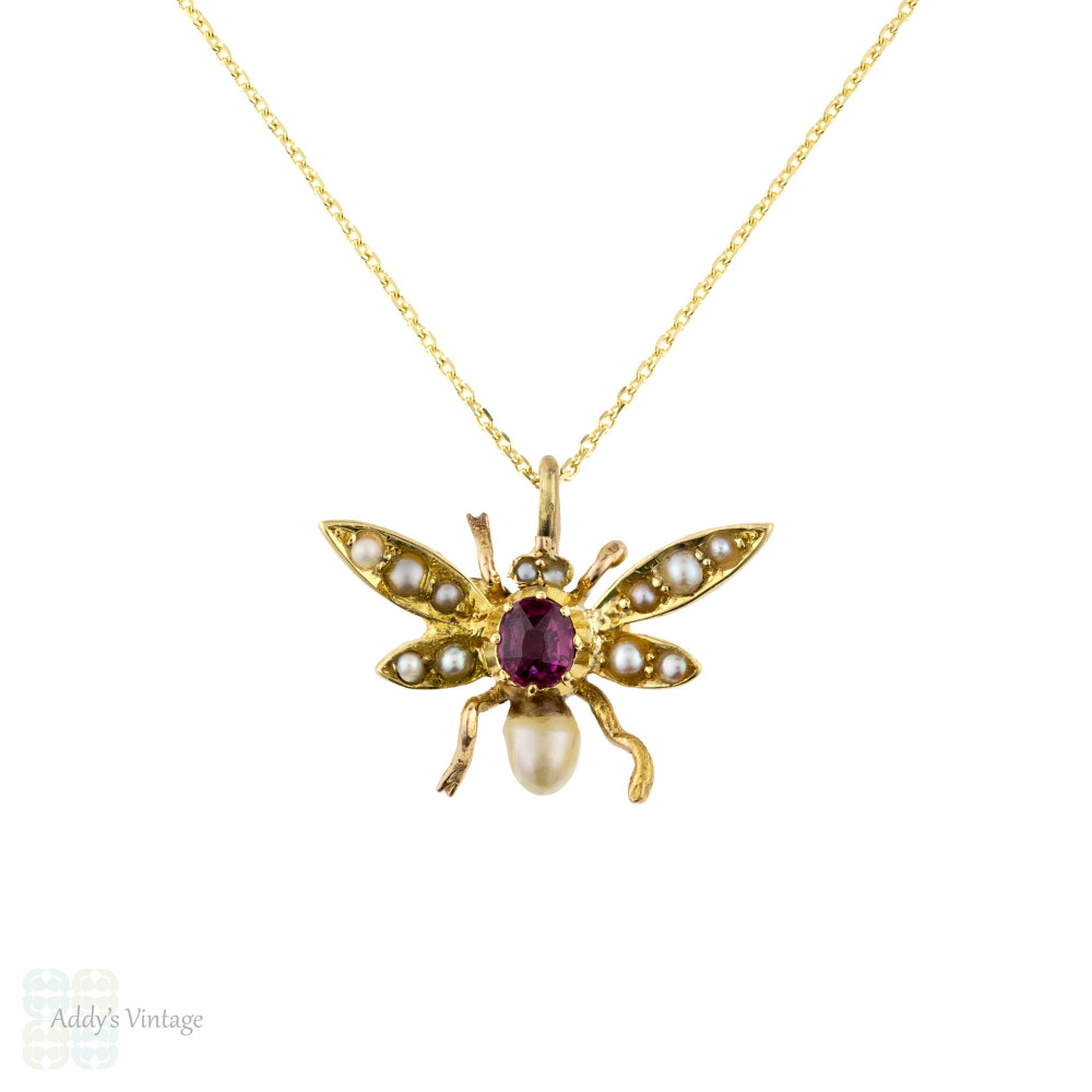 Antique Fly Pendant, Ruby & Cultured Pearl Bug 9ct 9k Necklace on Chain.