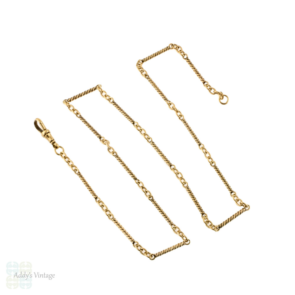 Antique 9ct Gold Bar Chain, Twisted Link 9k Victorian Necklace. 52 cm / 20.5 inches.