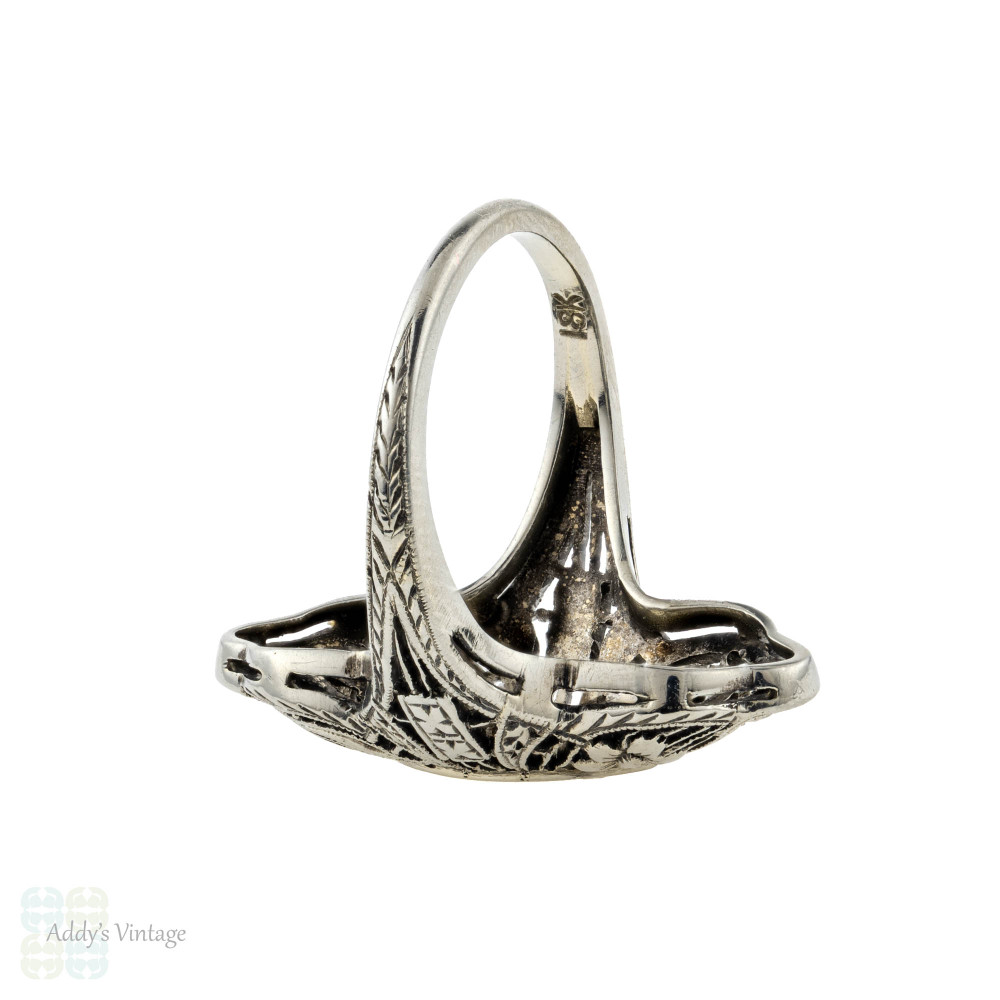 Marquise Art Deco Diamond Cocktail Ring, 1920s 18ct 18k White Gold Dinner Ring.