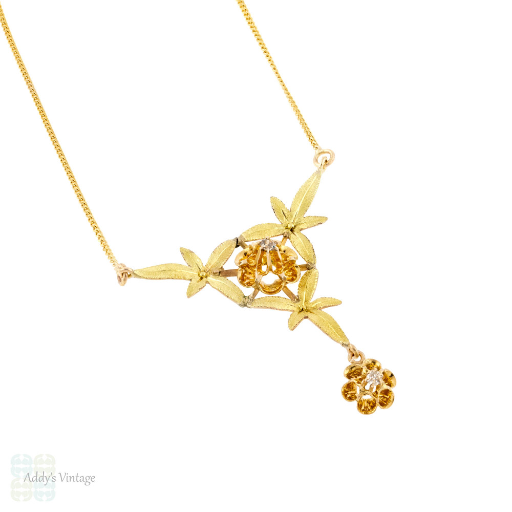 Art Nouveau Ivy Leaf Diamond Necklace, Antique 14k Two Tone Gold Floral Pendant.