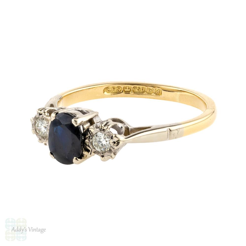 Sapphire & Diamond Three Stone Ring, Vintage 1970s Engagement Ring 18ct 18k Gold.