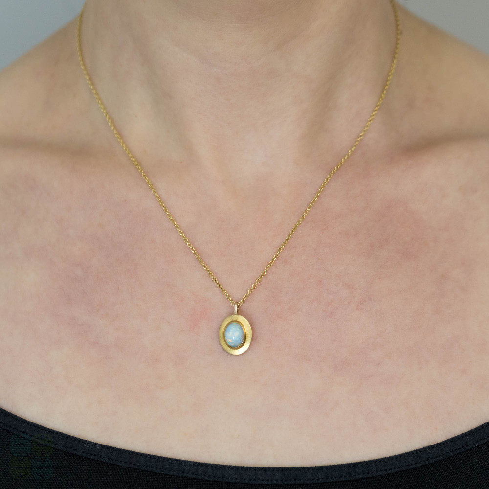 Opal Pendant 14k Yellow Gold Bezel Set Converted Antique Pendant. 9ct Chain.