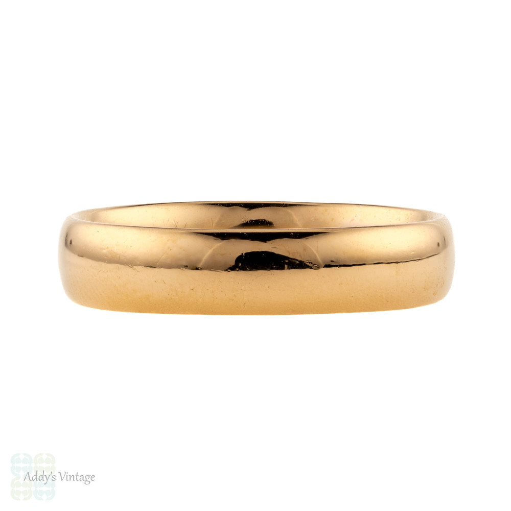 Antique 22ct Wedding Ring, 1910s Mens 22k Court Comfort Fit Band, Size Q / 8.25.