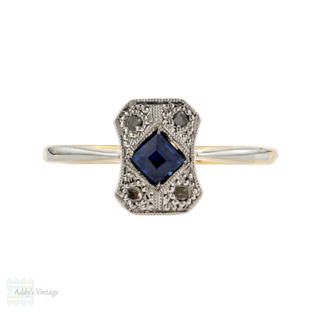 Art Deco Sapphire & Diamond Engagement Ring, Rectangle 1920s Ring, 18ct & Platinum.