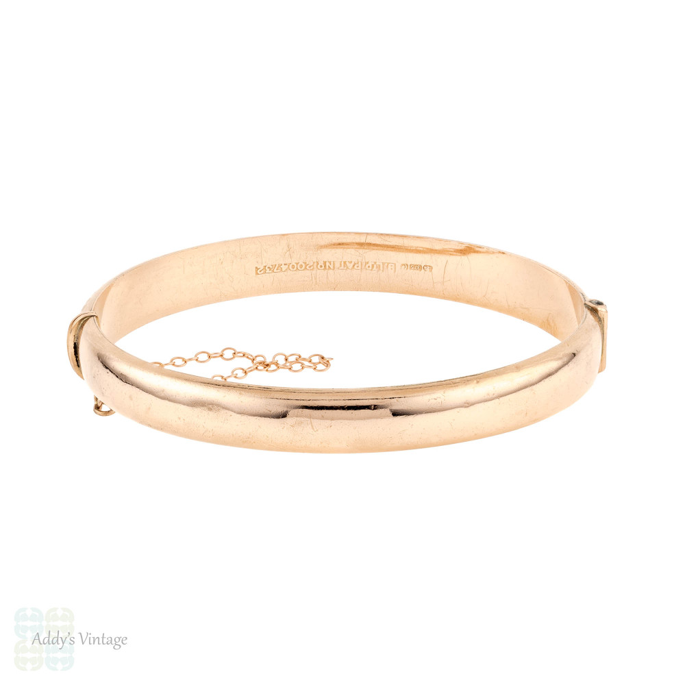 Vintage 9ct Bangle, Floral Engraved Heavy 9k Rose Gold Bracelet.
