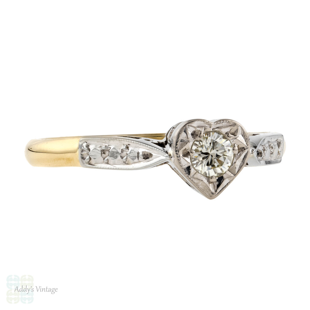 Heart Shape Diamond Engagement Ring, Vinage Love Heart in 18ct Gold & Platinum.