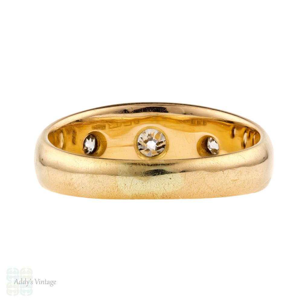 Gypsy Set Old European  Cut Diamond Three Stone Ring, Victorian 18ct 18k Gold.