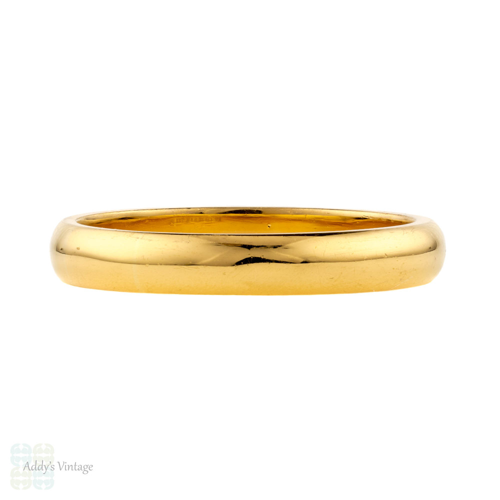 Art Deco 22ct Wedding Ring, 1930s D Profile 22k Gold Mens Band. Size Q / 8.25.