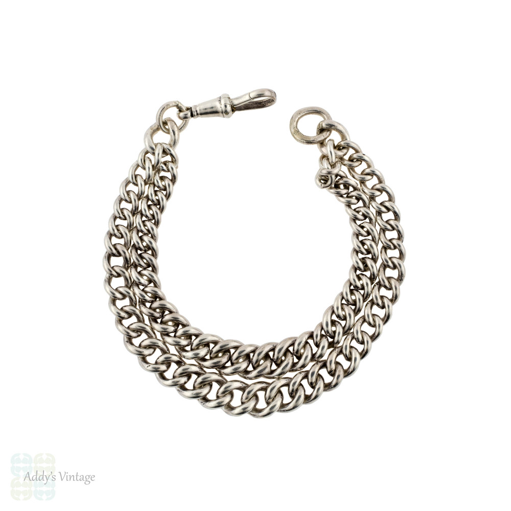 Antique Sterling Silver Bracelet, 1910s Chester Hallmark Double Strand Albert Curb Chain.