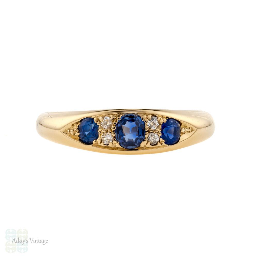 Sapphire & Diamond Gypsy Ring, Antique 18ct 18k Gold Three Stone 1910s Band.
