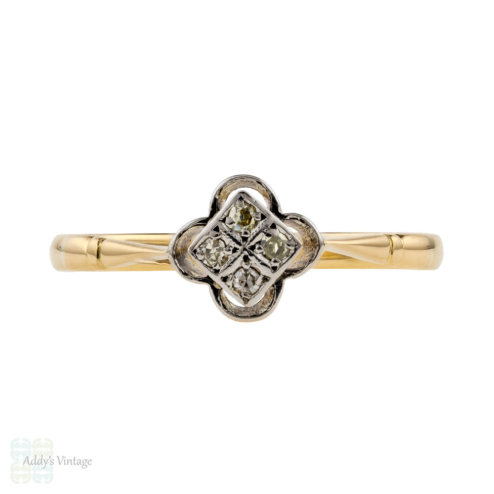 Floral Diamond Cluster Engagement Ring, 1930s Dainty 18ct 18k Gold Flower.