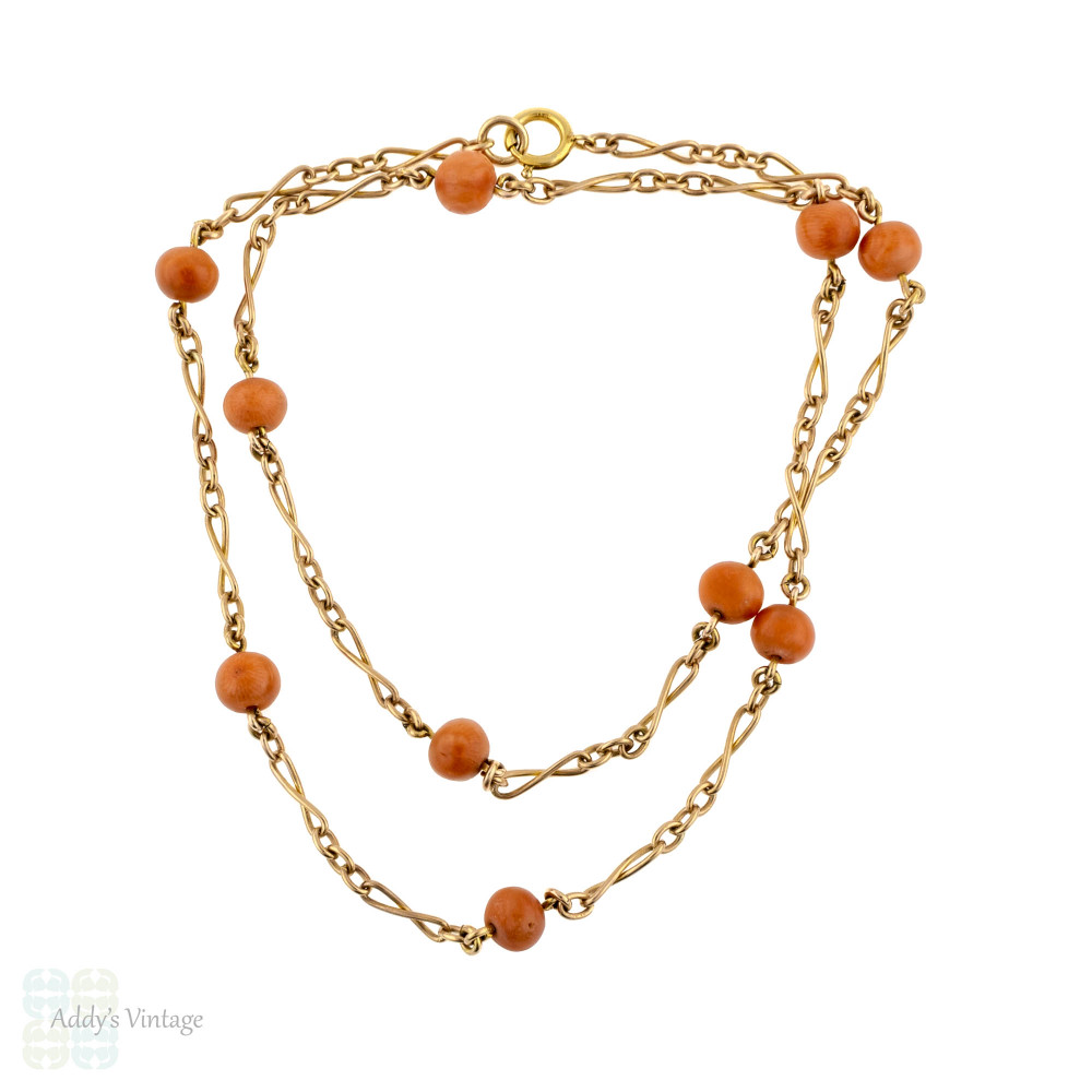 Coral 9ct Gold Victorian Chain, 9k Yellow Gold Fancy Link Necklace, 18.5 inches.