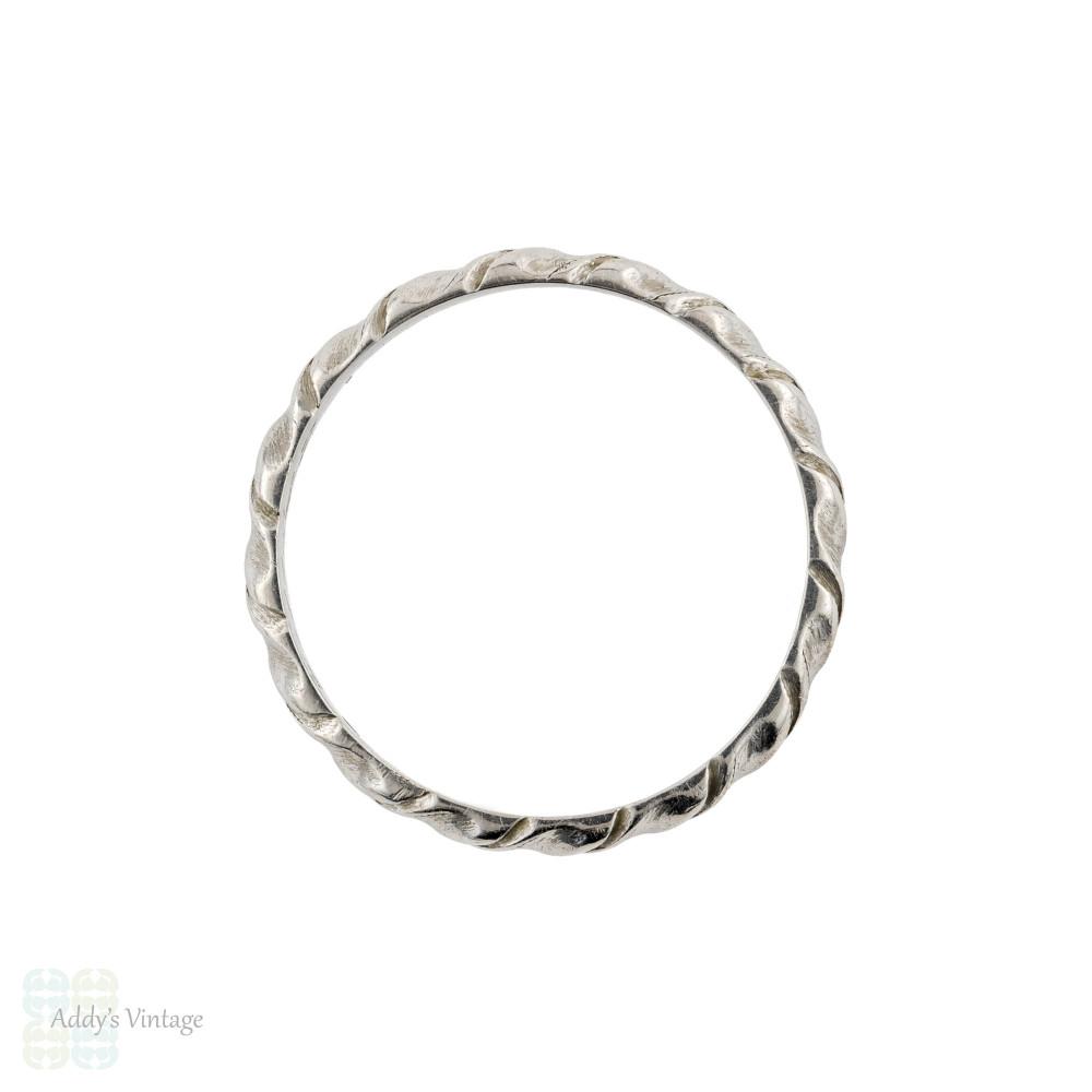 Twisted 1940s Platinum Wedding Ring, Vintage Narrow Engraved Ladies Band. Size L / 5.75.