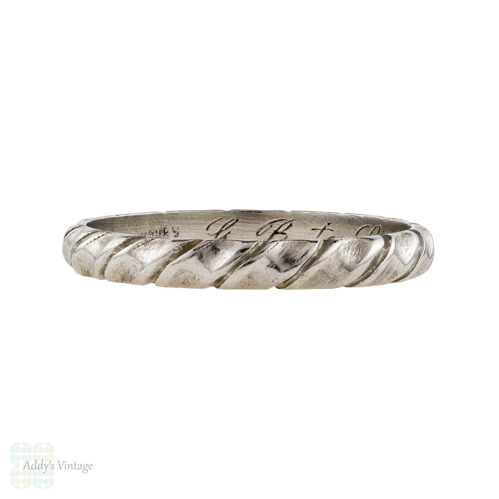 Twisted 1940s Platinum Wedding Ring, Vintage Narrow Engraved Ladies Band. Size L / 5.75.