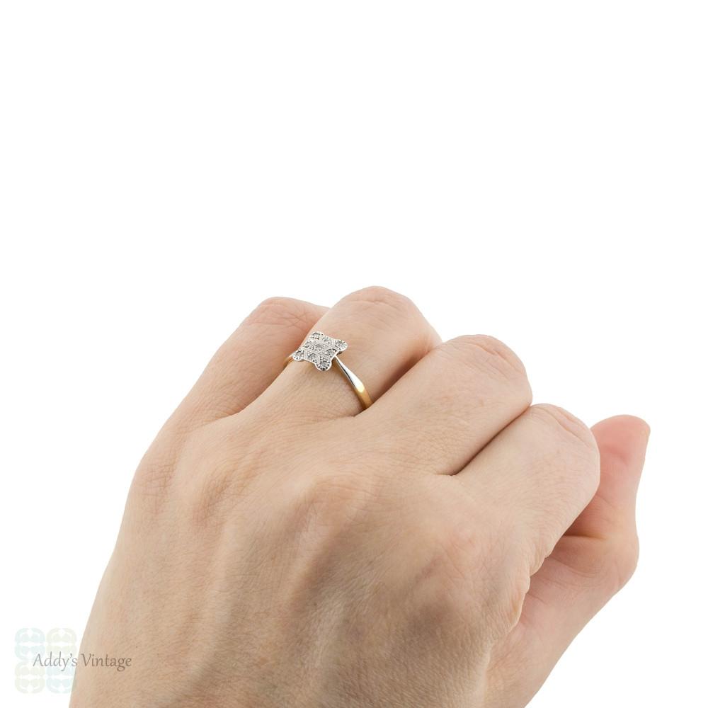 Square Art Deco Diamond Engagement Ring, 1920s Cluster Ring in 18ct & Platinum.