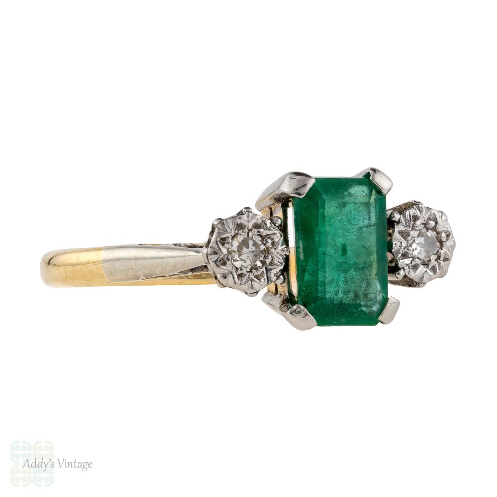 Emerald & Diamond Three Stone Engagement Ring, Vintage 1940s 18ct Gold & Platinum.
