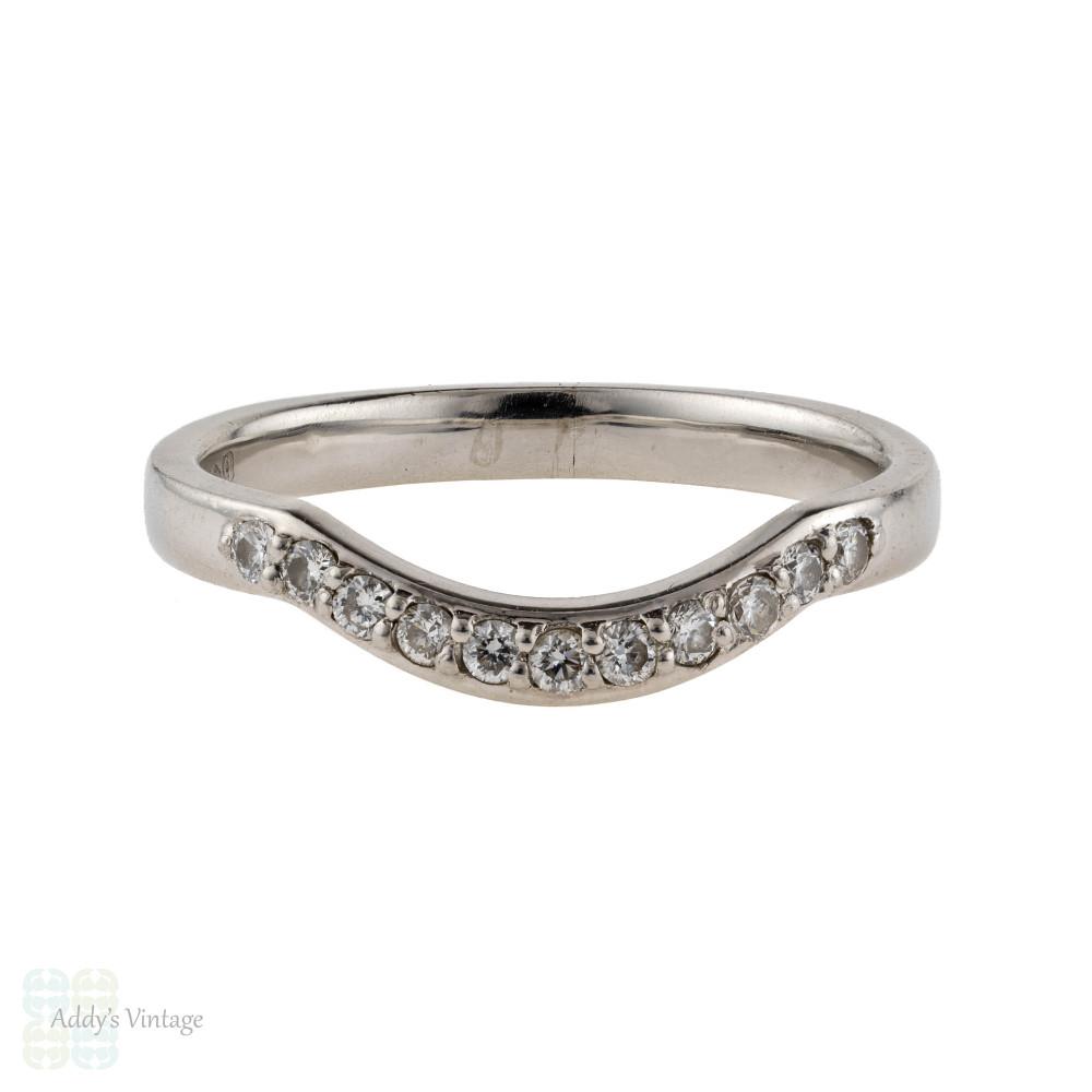 Curved Platinum Diamond Wedding Ring, Half Hoop Wishbone Shaped Bead Set Band.