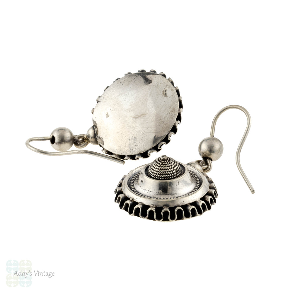 Victorian Sterling Silver Circular Dangle Earrings, Antique 19th Century Rippled Design Drops.