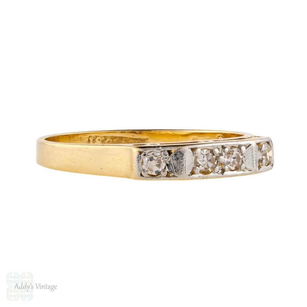 Vintage 4 Stone Diamond Wedding Ring, 1930s 18ct Gold & Platinum Ladies Band.