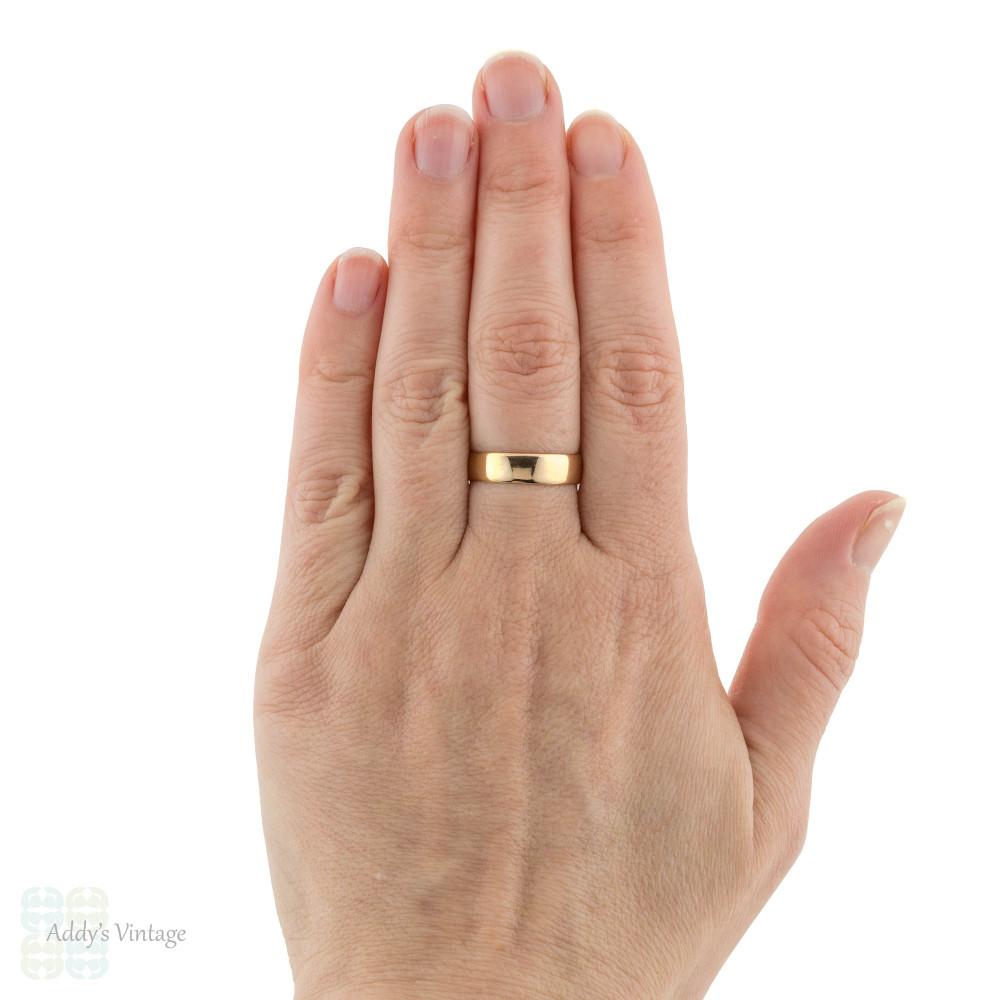 Antique 22ct Wedding Ring, Wide 1910s 22k Men's Wedding Band, Size R / 8.75.