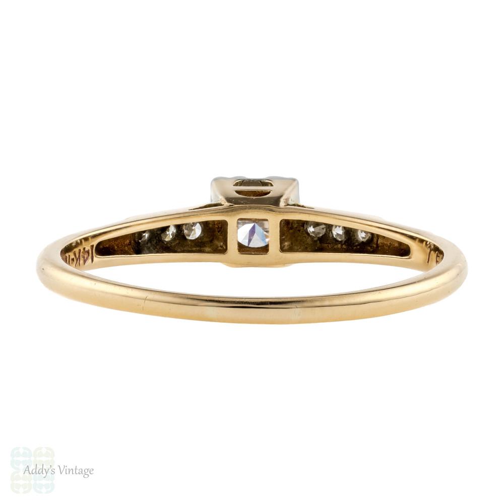 Vintage 1940s Diamond Engagement Ring, Old Cut Diamond 14k Yellow Gold.