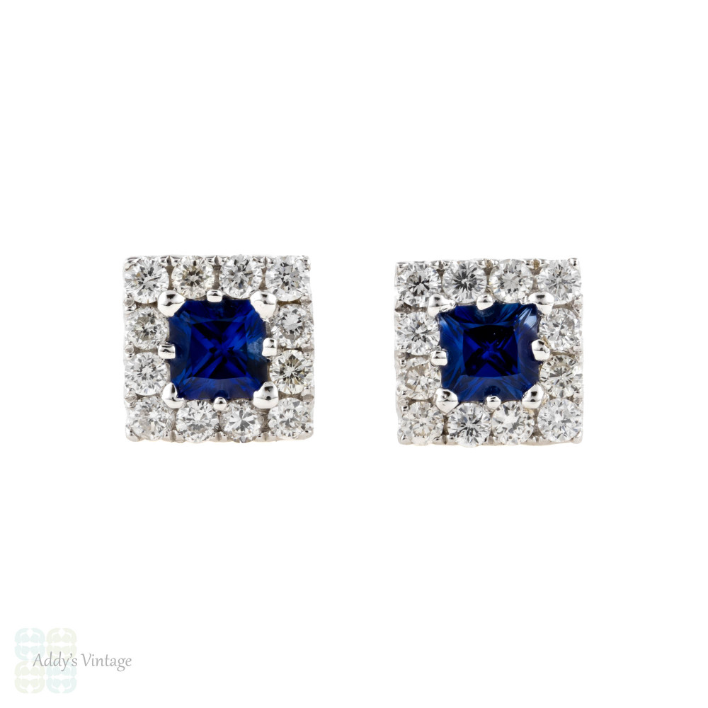 Blue Sapphire & Diamond Halo Stud Earrings, Square Gemstones 18ct 18k White Gold.