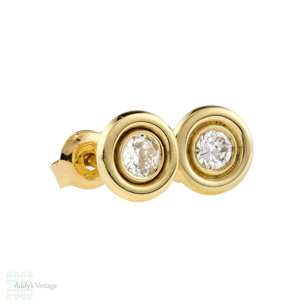 Old Cut Diamond Stud Earrings, 14k 14ct Yellow Gold Bezel Set 0.34 ctw Diamonds.