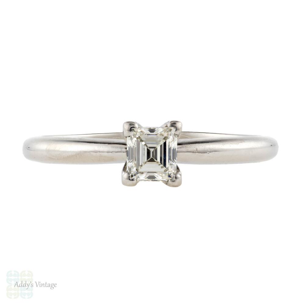 Asscher Diamond Engagement Ring, Platinum Square Cut Diamond Solitiare.